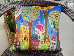 Night-Moon-PILLOW-COVER-Velvet-FOLK-ART-ABSTRACT-Karla-Gerard