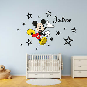 PERSONALISED Kids Name MICKEY MOUSE Disney Vinyl Wall Art Sticker Decal FREE P/&P