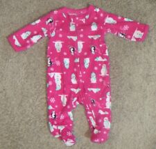 333ee9a8a Carter's Pink Snowman Snowflake Fleece Footed Sleeper Pajamas Size 3M 3  Months