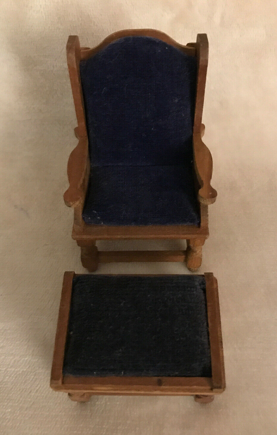 Miniature Dollhouse Pair Vintage Padded Parlor Chair & Stool, Fomerz JAPAN