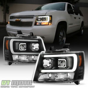 Blk 2007-2014 Chevy Suburban Tahoe Avalanche OPTIC DRL LED Projector ...