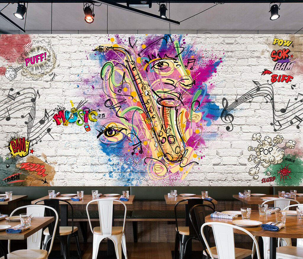 3D Kunst Musik M389 Tapete Wandbild Selbstklebend Abnehmbare Aufkleber Amy