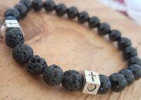 Antique Silver Cross Love Heart Black Onyx Lava Stone Beaded Stretch Bracelet