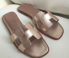 New Authentic $710 Hermes Oran Sandals Flats Shoes In Metallic Rose Gold Sz 36.5