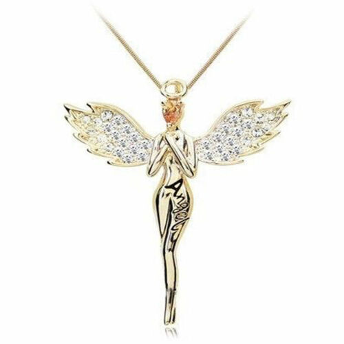 Womens Ladies Guardian Angel Crystals Pendant Necklace Gold silver Plated Gift