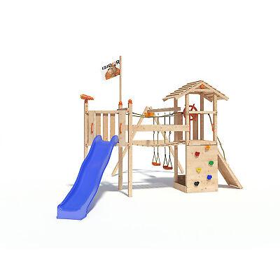ISIDOR Goufy Spielturm Kletterturm Spielhaus Kletterwand Wackelbrücke 1,20m