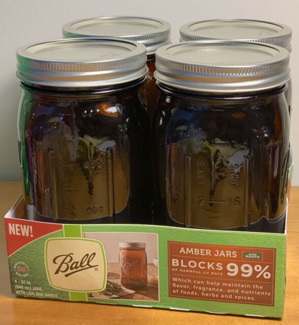 4-Pack BALL WIDE MOUTH Quart Anti-UV 32oz AMBER GLASS CANNING JARS~NEW~open Pkg.