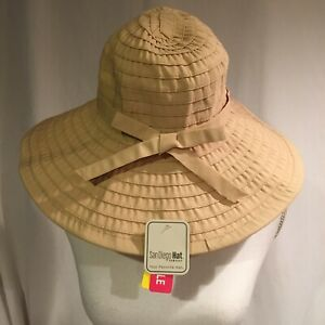 93e6bf262cd881 San Diego Hat Company Women's Ribbon Large Brim Hat SPF 50 Beige Tan ...