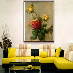 Details about Rose Flower Canvas Painting Poster Living Room Bedroom Wall  Hangings Home Decor