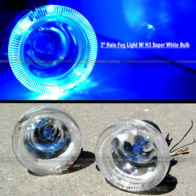 "For Sierra 3.2/"" Round Super White w// Blue Halo Bumper Driving Fog Light Lamp Kit"
