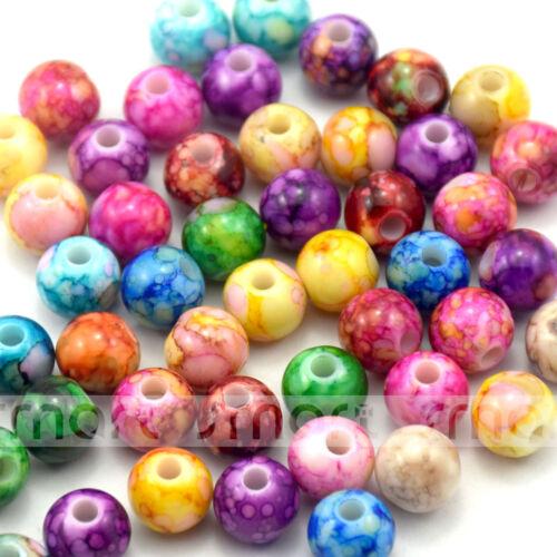 50pcs Couleurs Mélangées Abstract forme ronde acrylique Loose Spacer Beads 10 mm