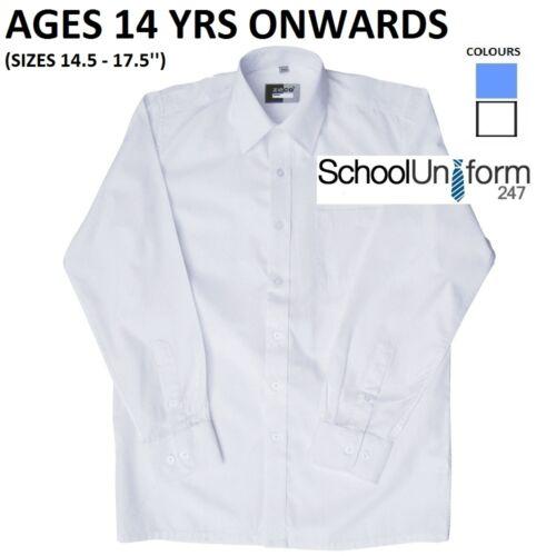 Zeco Boys Long Sleeve School Uniform Wear Shirt Size 14.5-17.5/'/' White Sky Blue