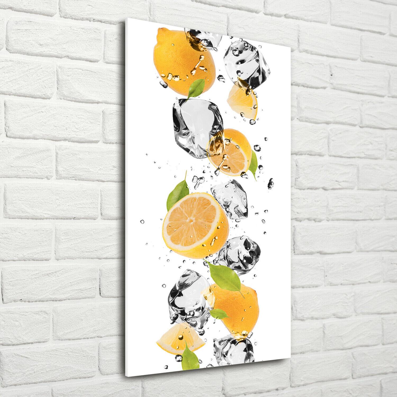 Wandbild Druck auf Plexiglas® Acryl Hochformat 70x140 Zitronen und Wasser