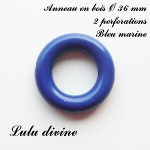 Anneau en bois de 36 mm avec trous pour hochet bébé : Bleu marine XS