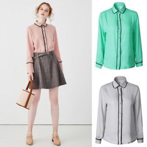 Fashion-Women-Girl-Chiffon-Long-Sleeve-Career-Shirt-Fitted-Button-Up-Blouse-Tops