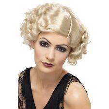 Womens Blonde 20s Flirty Flapper Wig Short Bob Fancy Dress Gangster Curly 1920's