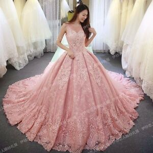 Details about New Pink Wedding dress Bridal Gown custom size  6,8,10,12,14,16,18+