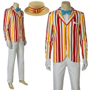 New Mary Poppins Bert Cosplay Costumes Men/'s Clothes Full Set #a