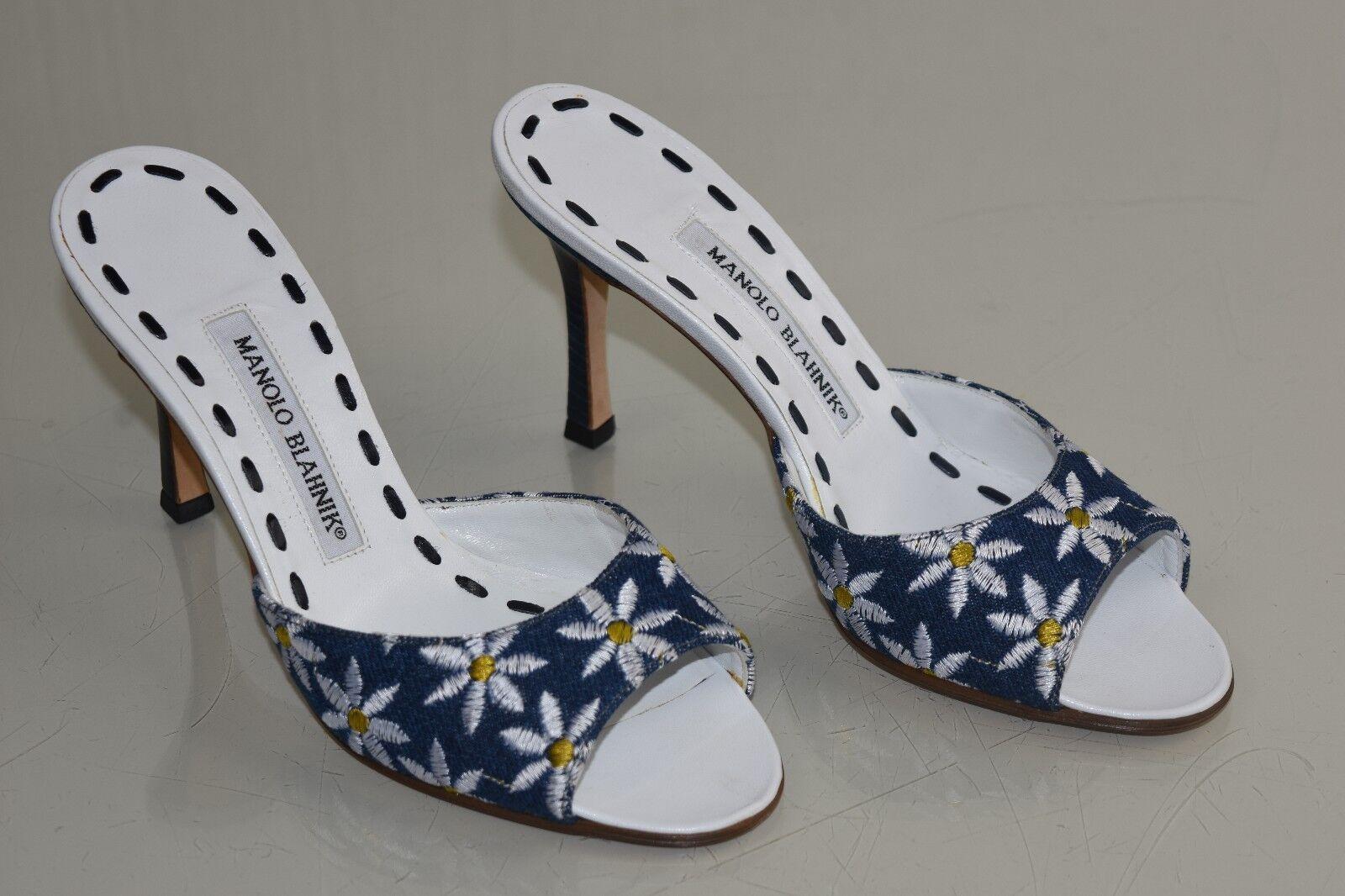 775 NEW MANOLO BLAHNIK ASTUTA Slides Sandals Floral Embroidered bluee Denim 36