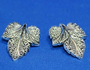 Vintage-Silver-tone-Marcasite-Clip-On-Earrings-Ornate-Leaf-Shape