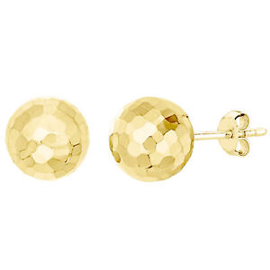 Details About 14kt Gold 7mm Hammered Finish Ball Stud Earrings