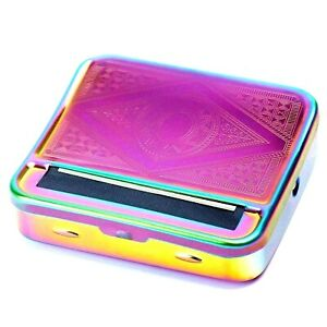 Stylish Cigarette Automatic Rolling Tin Box Colourful Metallic Finish NEW