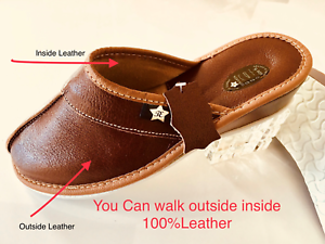New Slippers Women Ladies Black Leather Slippers New Brown Sndals Flops Garden Home Sandals 0da7a5