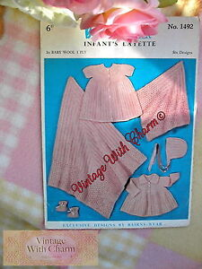 Vintage-1950s-Knitting-Pattern-For-Baby-039-s-6-Piece-Layette-Just-2-49-FREE-UK-P-amp-P