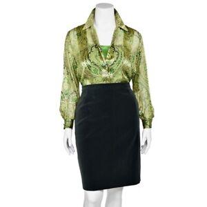 Escada-Emerald-Green-Paisley-Print-Sheer-100-Silk-Blouse-Shirt-Top-sz-38-8-US