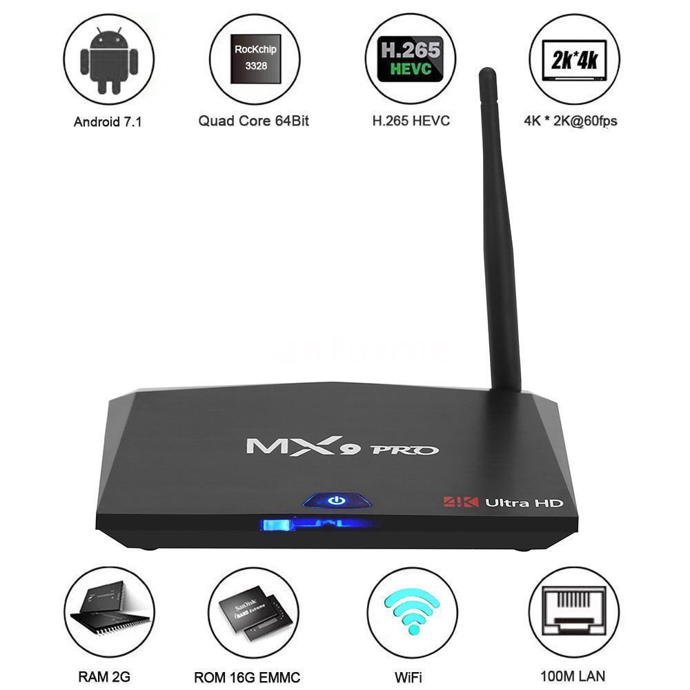 MX9 Pro Android 7.1 4K TV Box RK3328 Quad Core 64Bit BT WiFi 4K Media 3D Movie