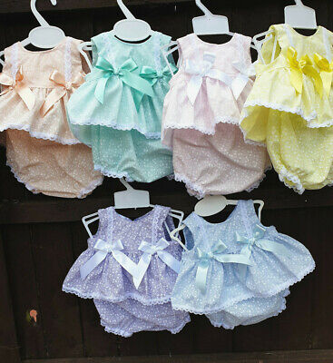 DREAM 0-5 YEARS pastel traditional lined dresss and frilly PANTS or reborn dolls