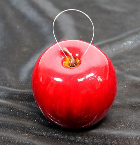 Mela VERNICE 7,5cm rosso con laccio DP arte MELA FRUTTA ARTIFICIALE