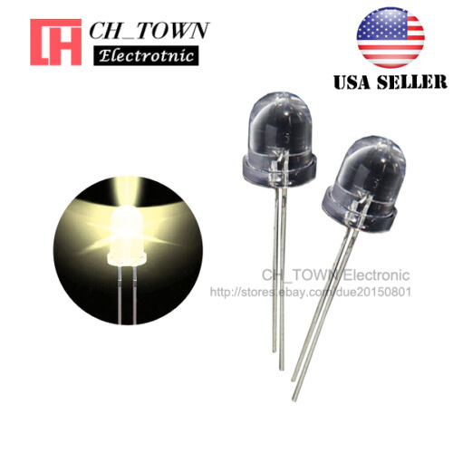 50pcs 8mm Led Diodes Warm White Light Emitting Diode Water Clear Round Top USA