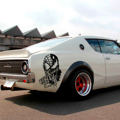 2x Pair Skull Roses Rock 4x4 Graphic Fender Side Car Truck Vinyl Sticker Decal