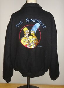 7cda2073b Details about Vintage THE SIMPSONS Black STARWEARS Letterman Varsity Style  Jacket Adult Large