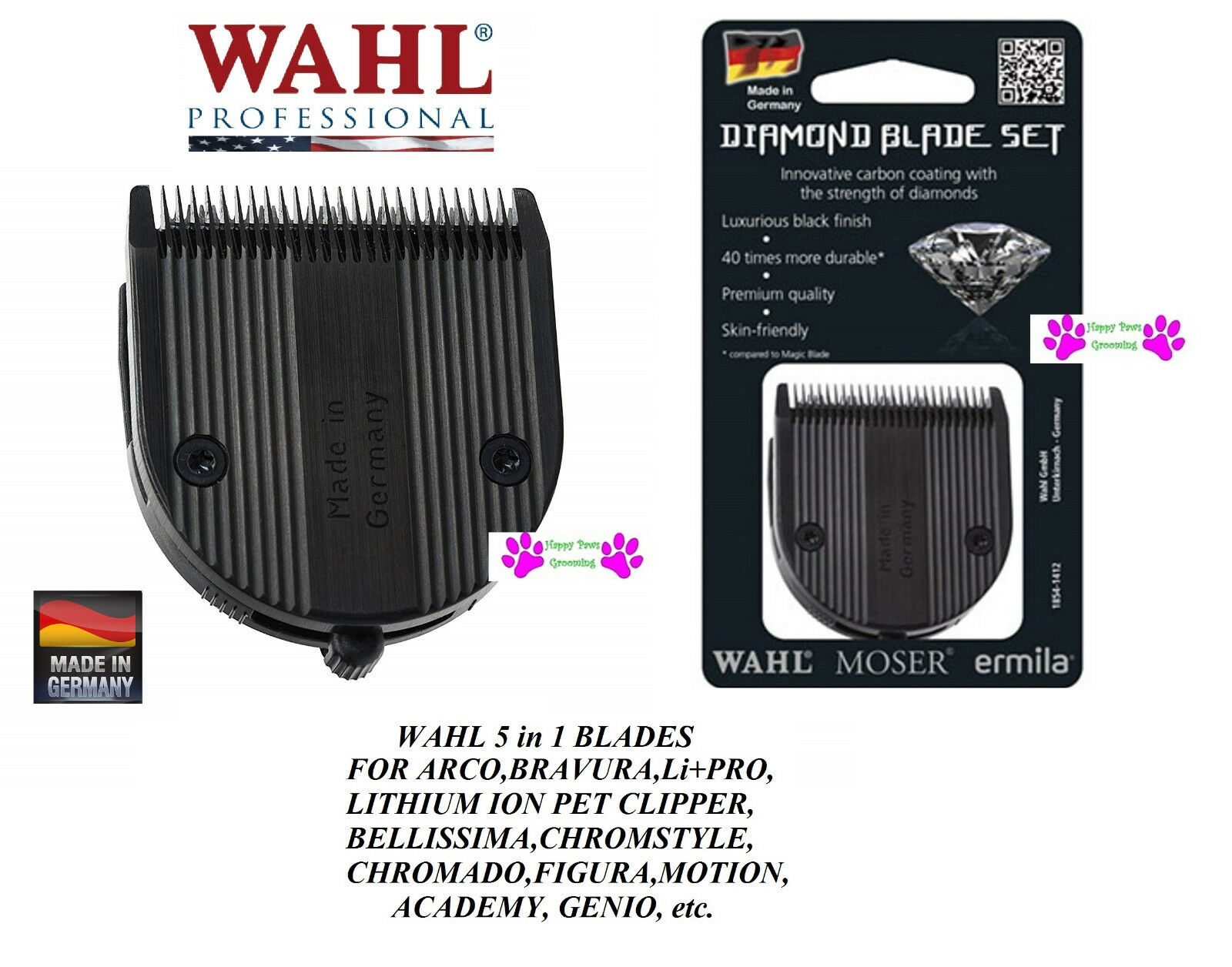 2-Wahl 5 in 1 DIAMOND Blade for Chromstyle,ARCO,BRAVURA,Academy,Pro Pet,Figura
