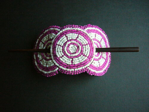 Fairtrade Gift African Ethnic Masai Leather /& Bead Hair Barrette Ponytail Clip