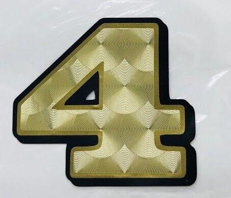 "1"" GOLD NUMBER DECAL 0-9 motorcycle helmet race lettering leaf engine turned"