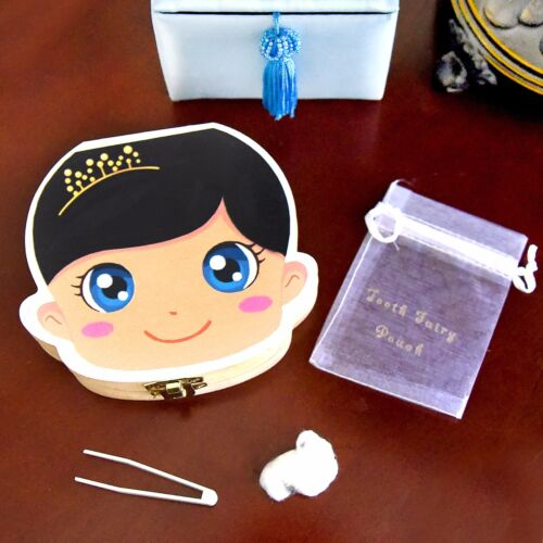 Tooth Fairy Box Baby Girl Brunette VAVVY BABY Tooth Box for baby milk teeth