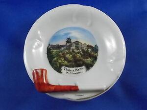 Vieille-Memoire-Cendrier-THALE-a-Harz-Rostrappe-Porcelaine-Souvenir