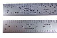 Pec Usa Machinist Ruler 300 Mm 12 Metric English E/m Rigid .5mm, Mm, 1/31, 1/64