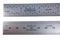 Pec Usa Machinist Ruler 300 Mm 12 Metric English E/m Rigid .5mm, Mm, 1/31, 1/64