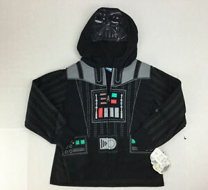 Star-Wars-Darth-Vader-Jacket-Boys-XS-Costume-Hoodie-NWT-Front-Zip-Attached-Cape