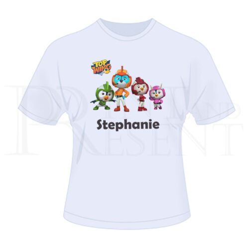 Personalised Childrens Boys Girls Top Wings T-Shirt White