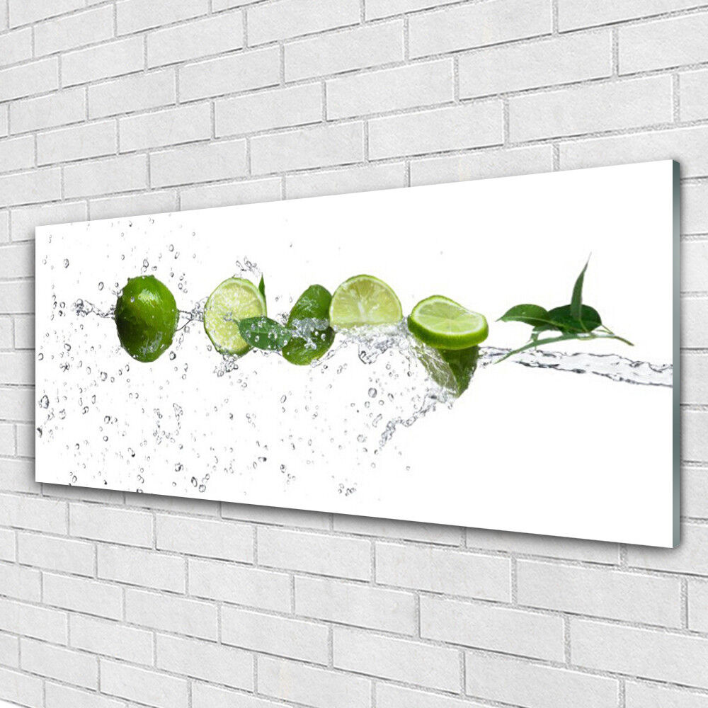 Print on Glass Wall art 125x50 Picture Image Lime Water Kitchen