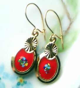#1473F Vintage Earrings Guilloche Enamel Floral Gold Plated Flower Dangle Red