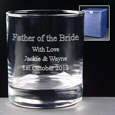 Large Personalised Whisky Glass Engraved Father Of The groom Wedding Gift /& Box