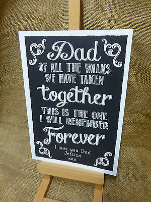 PERSONALISED chalkboard style FATHER OF BRIDE aisle sign WEDDING KEEPSAKE GIFT