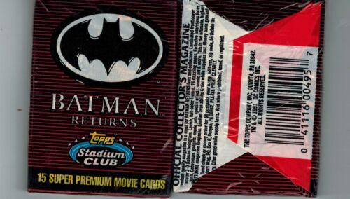 1991 TOPPS STADIUM CLUB UNOPENED 15 CARD PACK BATMAN RETURNS
