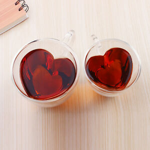 Heart Shaped Double Wall Clear Glass Tea Cup Lover Coffee